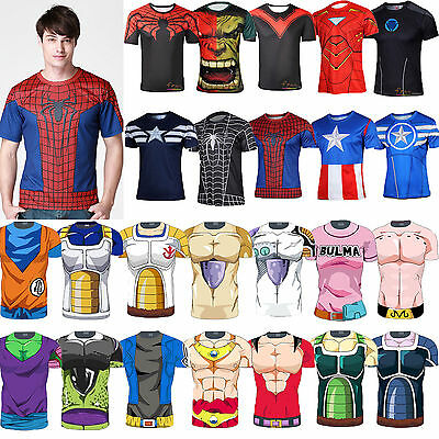 Men Superhero Avengers Dragon Ball Z Short Sleeve T-shirt Tee Top Cycling Jersey