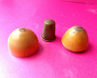 Antique  Wooden  Egg Design Sewing Box & Tiny Brass Thimble