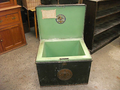 """2' 4"""" Antique Milners 212 Floor Safe Strong Box Coffee Table Storage Chest Trunk"""