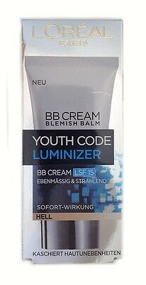 1 x 50ml LOREAL Youth Code Luminizer BB Cream HELL (GP:100ml/15,98€) NEU