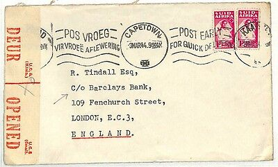 AB27 1944 Cape Town to Barclays Bank London Cover Samwells-covers