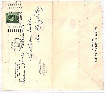 JJ85 1937 GB KEVIII INTERNAL ADVERT Keighley Yorkshire Cover {samwells-covers}