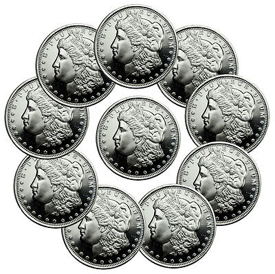 Lot of 10 - Morgan Dollar Design 1/2 Troy Oz .999 Fine Silver Rounds SKU47540