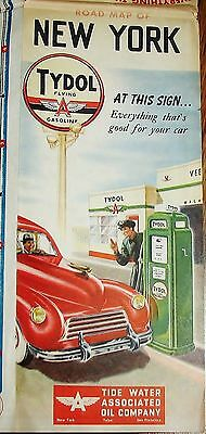 TYDOL FLYING A Gasoline Vintage 1940 NEW YORK Road Map and Guide