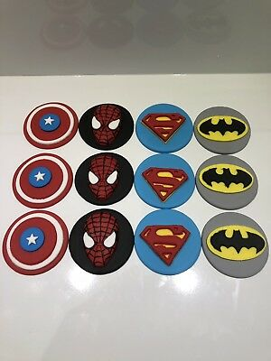 12 x SUPER HERO CUPCAKE TOPPER FONDANT, ICING SUGAR EDIBLE BIRTHDAY PARTY CAKE