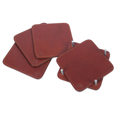 Square Brown Leather Beverage Coasters Drink Caddy Set of Four USA Made