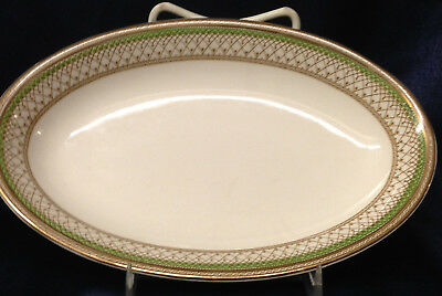 """Meakin J&g Sol Westminster Green Band Oval Relish Dish 8 1/2"""" England"""
