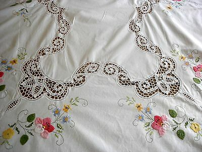 Vintage Hand Embroidered Lace Inserts Large Rectangular Linen Tablecloth