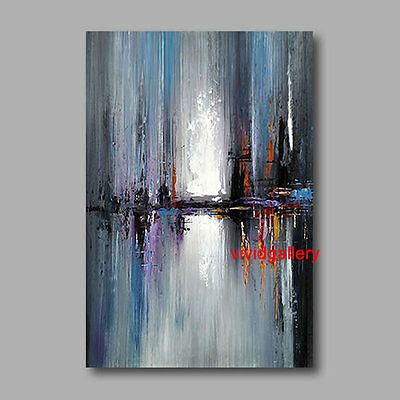 "Hand-painted Canvas Oil Painting 36""x24"" Abstract Modern Deco Art Blue Black 086"
