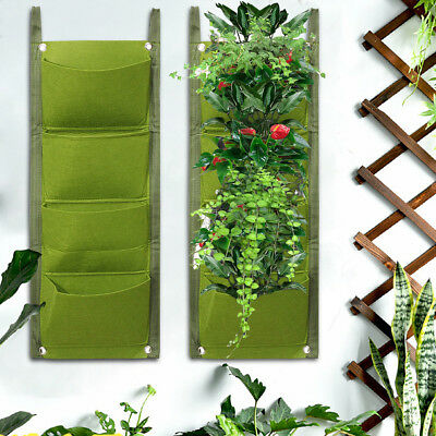 1/4/7 Pockets Vertical Wall Garden Hanging Planting Planter Bags for Herb Flower