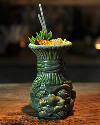 Shrunken Head Green Tiki Mug 520ml Ceramic Tiki Mug Cocktail Cocktails Gift