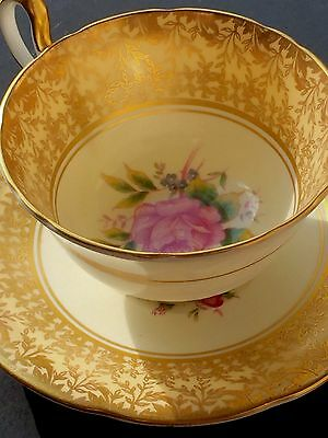 Aynsley England Fine Bone China Tea Cup And Saucer Gold With Pink Rose