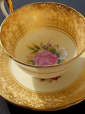 Aynsley England Tea Cup And Saucer Gold With Pink Rose Pattern  Excellent Condit