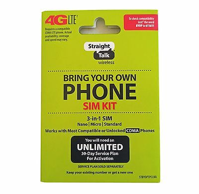 Straight Talk SIM Card For VERIZON Tower Bring Your Own Phone Activation Kit