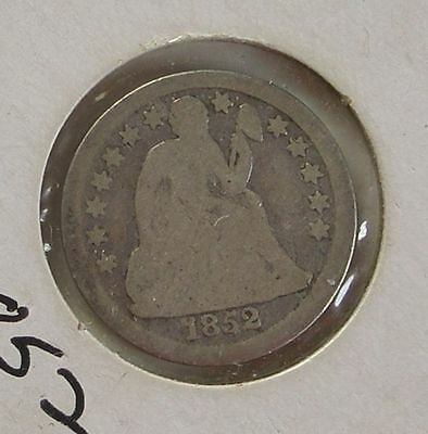 1852 Seated Liberty Dime Coin Silver