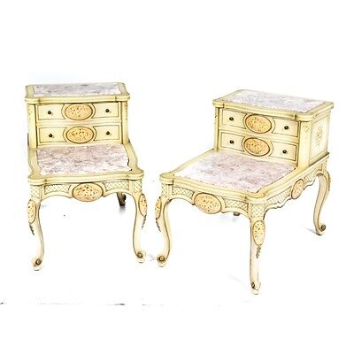 Vintage Pink Marble Top French Country Provincial Hand Painted Accent Tables