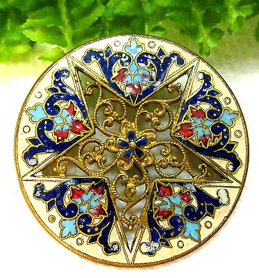 Gorgeous Antique French Champleve Enamel Button Open Work Filigree Star S64