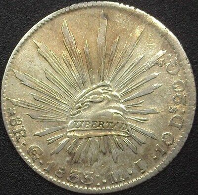Mexico 1833-Gomj Silver 8 Reales  Choice Almost Uncirculated