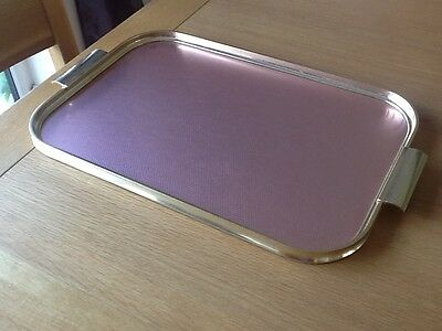 Vintage Carefree Made In England Gold And Pink Metal Drink Serving Tray