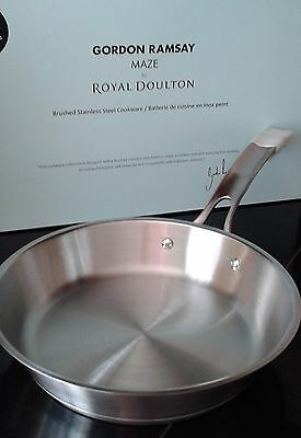 """GORDON RAMSAY MAZE by ROYAL DOULTON 10"""" STAINLESS STEEL FRYING PAN"""