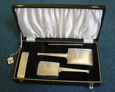 Art Deco Hallmarked English Silver Ladies Grooming Hair Brush, Mirror Vanity Set