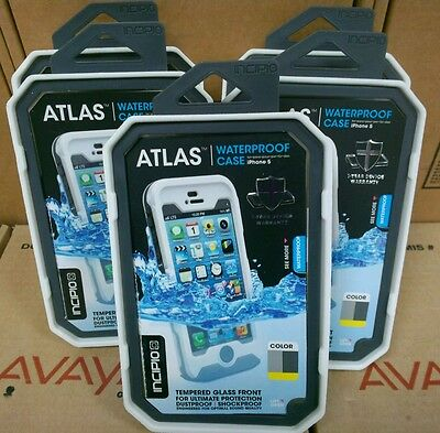 lot of 5 incipio Atlas Waterproof case w/ tempered glass for iPhone 5/5S gry-yel