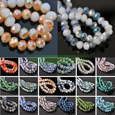 4mm/6mm/8mm/10mm Jade Half Rondelle Faceted Crystal Glass Loose Spacer Beads