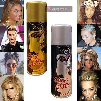New Hair And Body Glitter Spray Shimmer Sparkle Party Makeup Silver Gold Unisex