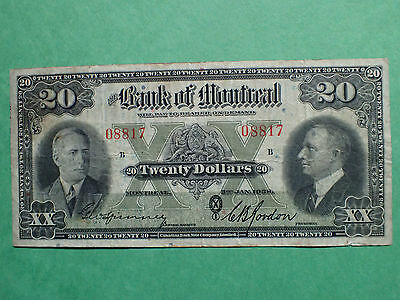 1938 , 20 Dollars,  The  Bank of Montreal ,  # 08817