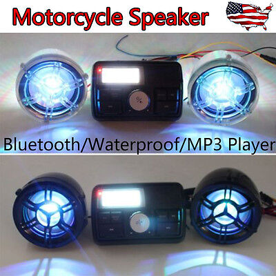 Heavy Motorcycle Bluetooth Audio Stereo Amplifier 2*20W Speakers for ATV Bike US