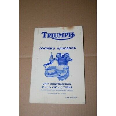 Triumph Owner's Handbook Unit Construction Usa Edition - Poor