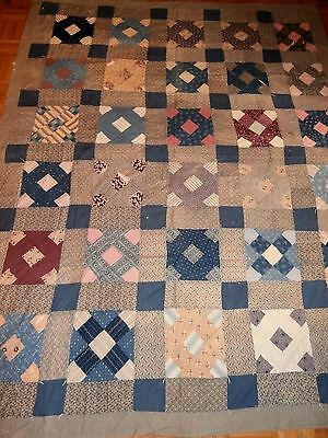 """Antique Churn Dash quilt 71""""x 87"""" for repair Early fabrics, soft nice feeling"""