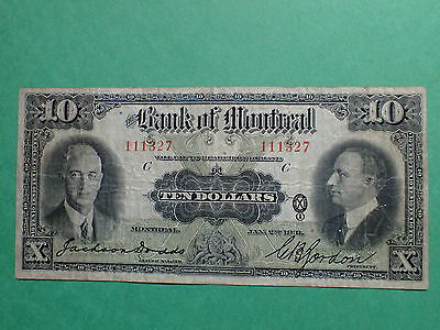 1931 , 10 Dollars,  The Bank of Montreal , Large banknote,  #111327