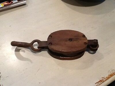 Antique Wood & Iron Block & Tackle Pulley Nautical Barn Steampunk Industrial