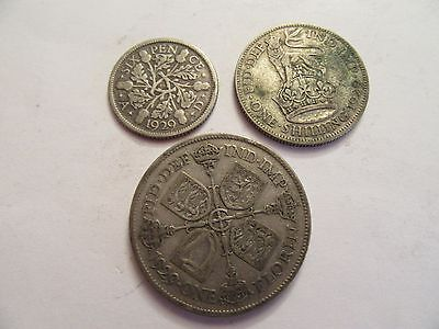 THREE 1929 Great Britain Silver Coins, 1 Florin, 1 Shilling, 1 6 Pence
