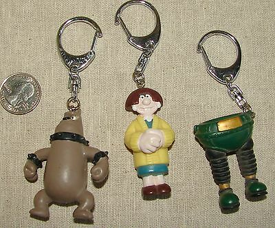 Wallace & Gromit KEYRING FOB Lot of 3, Trousers Wendolene & Preston Dog, 1989