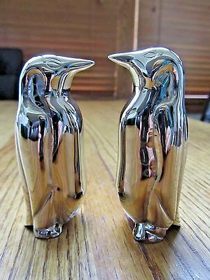 Penquin Set Salt & Pepper Shakers-Elegant Silver Colored Metal!