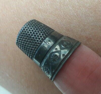 Vintage Sterling Silver Thimble Size 9
