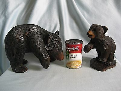 VTG. Set 2 Hand Carved Wooden Bears-Mother Cub-Signed Ray Boessel-Glass Eyes- 7""