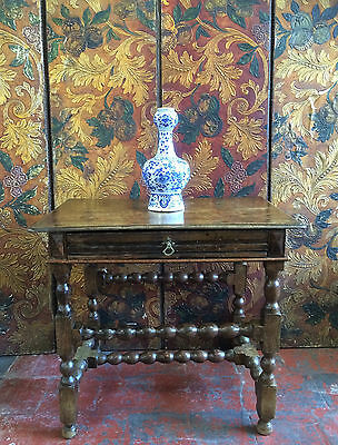 Rare Antique William & Mary Oak Lowboy /side Table, Bobbin Turned, 17Th Century.