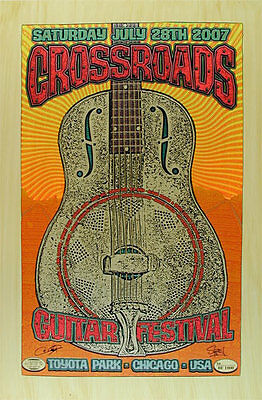 Eric Clapton Jeff Beck 2007 Crossroads Festival Poster signed Chuck Sperry Rare