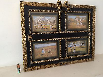 Vintage Antique Style Ebony & Gilt 4 Way Picture / Photo Frame