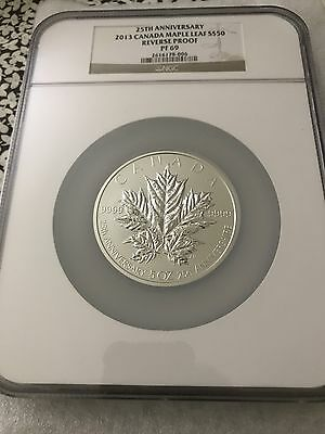 2013 Canada 25Th Anniversary Of Silver Maple Leaf 5Oz $50 Silver Coin Ngc Pf69