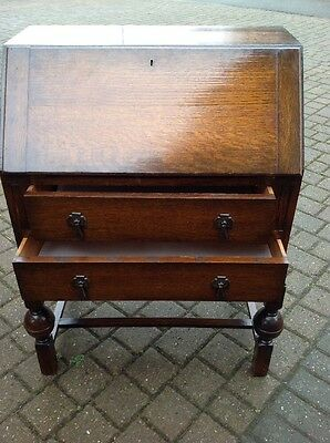 Vintage Solid Oak Writing Bureau Desk Very Heavy
