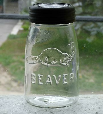 Rare antique midget size clear BEAVER fruit canning jar FREE SHIPPING!