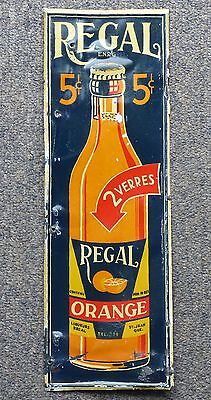 Old 1920's St-Jean, Quebec REGAL ORANGE soda tin push plate sign FREE SHIPPING!