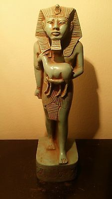 Rare Ancient egyptian pharao RamessesII holding god satis wth God bes1279–1213BC