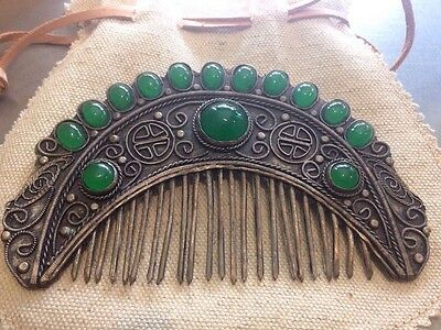 Antique Art Nouveau Chinese Silver Filigree Green Agate Jade Comb Hair Ornament