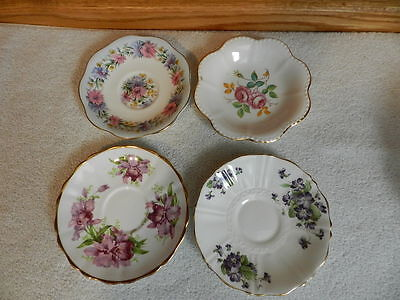 """Lot of 4 Mixed Saucer Bowl Dishes Tuscan, Old Royal, Grosvenor, Foley 5 1/2"""""""