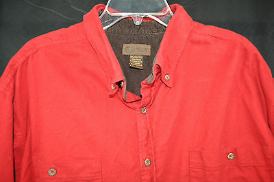 Men's Faded Glory long sleeve button front red casual shirt 3XL